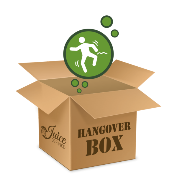 Hangover Box, Image of Box that contains 6 different Juices for Detox